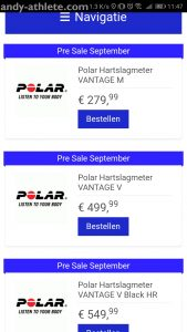 Polar Vantage V and Polar Vantage M in a shop